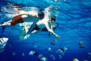 Snorkeling in Bogmalo Beach in goa- fun things to do in Goa